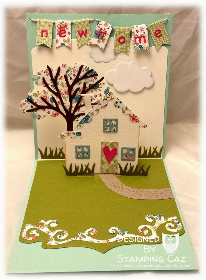 Caz Counsell using the Lots of Pops, Agatha Edges, All Seasons Tree and Katie Label dies by Karen Burniston for Elizabeth Craft Designs - A STAMPING & CHIRPING Corner: A New Home Card - Karen Burniston/Elizabeth Designs Dies