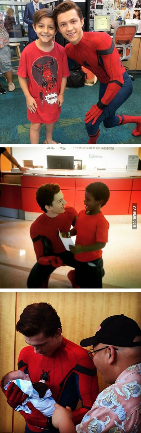 Tom Holland takes a break from filming Spider-Man Homecoming and visits a children's hospital with his superhero suit! That's a sweet act. - Visit to grab an amazing super hero shirt now on sale!