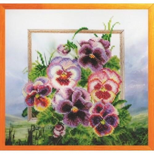Violets Flowers Bead Embroidery kit Beadwork Beaded Embroidery Kit DIY