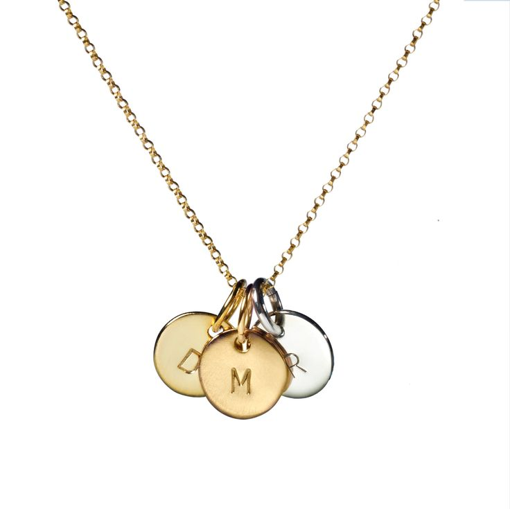 Tri-Gold Medium Kathryn Love Letter on Gold Whisper Chain - Can't choose one metal? Go for all three! Super stylish and popular, you simply can't go wrong