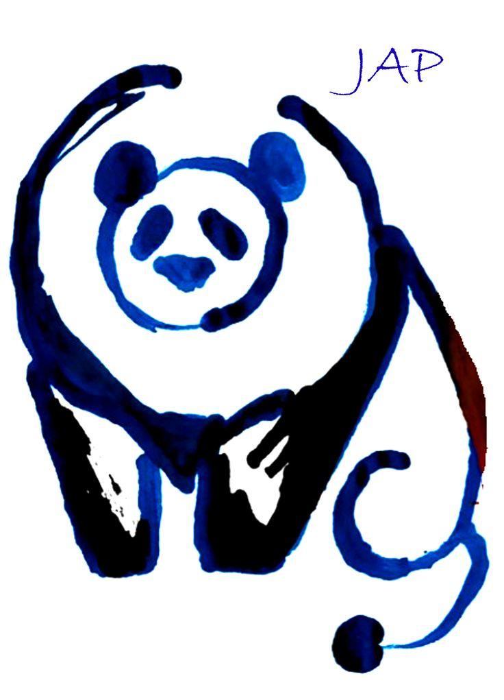 Síntesis de Animales Panda-León - Tinta china de colores