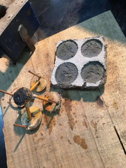 Sand cast Bee Tokens, process.