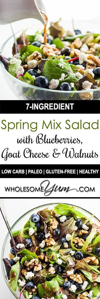 Spring Mix Salad with Blueberries, Goat Cheese and Walnuts (Low Carb, Gluten-free) - This easy spring mix salad recipe with blueberries, goat cheese, and walnuts comes with a blueberry vinaigrette dressing. Just 5 minutes to make!