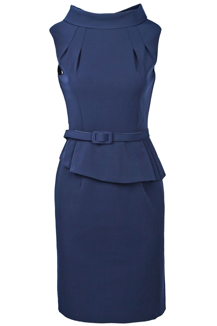 Navy Lapel Sleeveless Belt Ruffles Dress