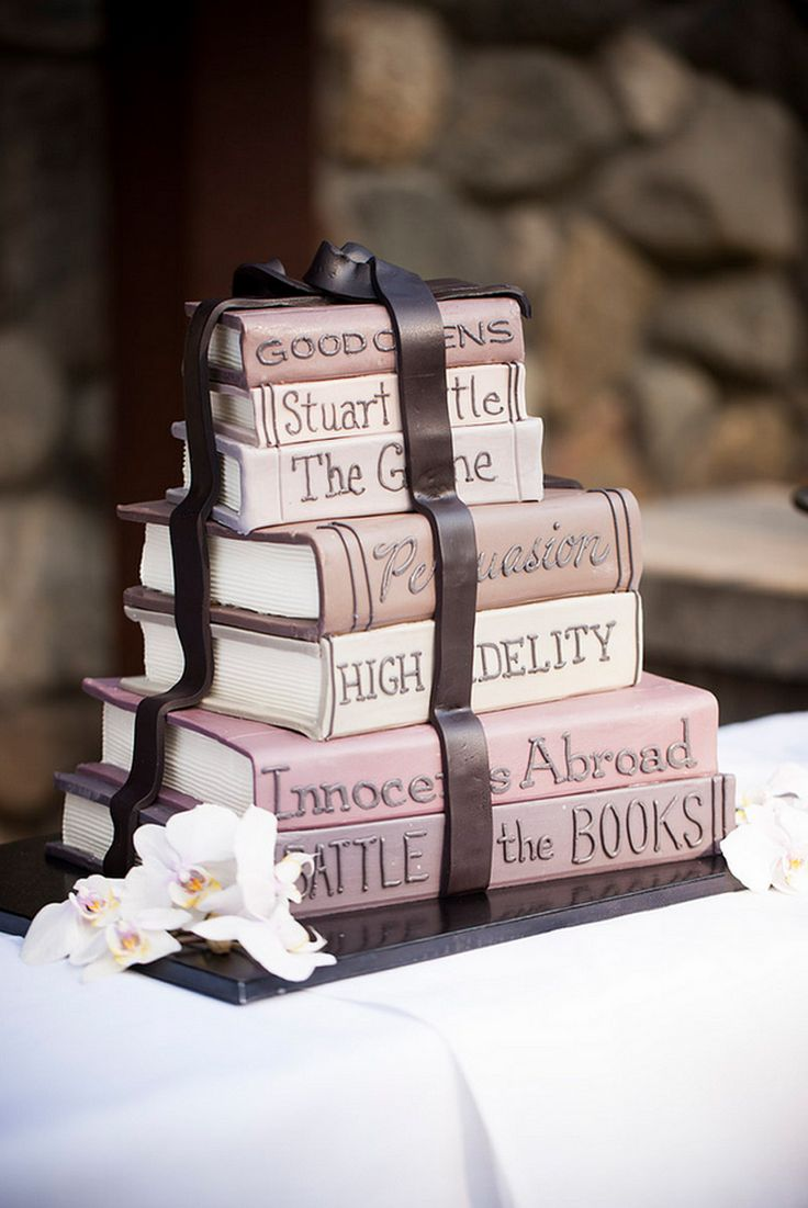 Cake Decorated Like Books : Meaghan & Stuart s book-loving dual wedding in California ...