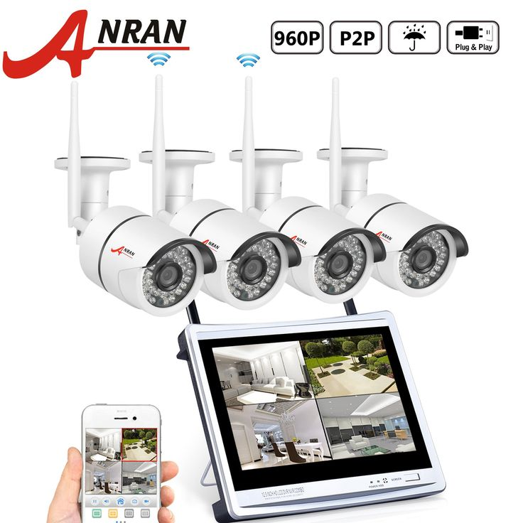"""ANRAN 4CH WIFI NVR with 12"""" Monitor Wireless Security Camera System with 4 Waterproof 960P Outdoor 36IR Night Vision IP Video Surveillance Camera Plug and Play No Hard Drive"""