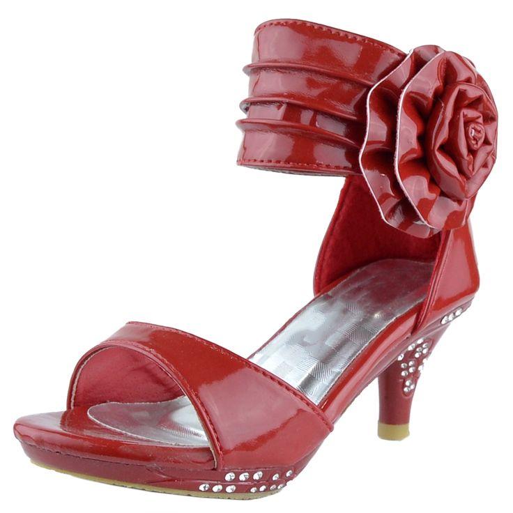 Kids Dress Sandals Patent Flower Rosette Pageant High ... - photo #44