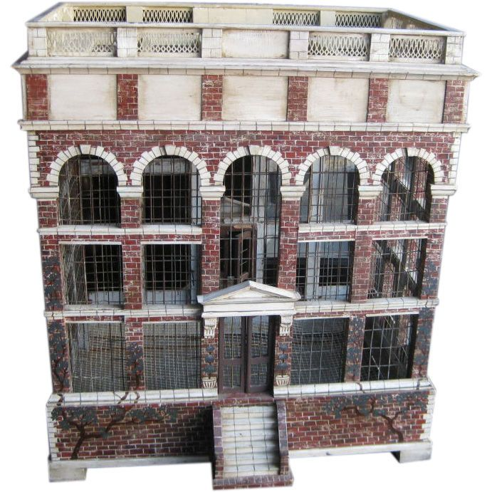 """Large Architectural Bird Cage with Later Custom Base. Great looking large bird cage made to look like a Georgian Mansion with little faux painted bricks --this comes with a later made custom English style base overall height is 67"""". USA 20th century."""