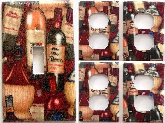 Wine Bottles Vinyard Maroon Kitchen Bar Light Switch Plate