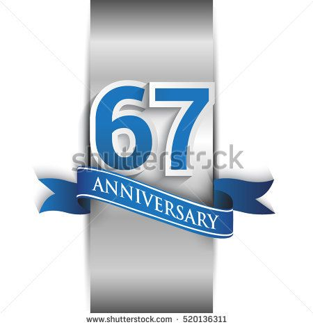 67th anniversary logo with silver label and blue ribbon, Vector design template elements for your birthday party.