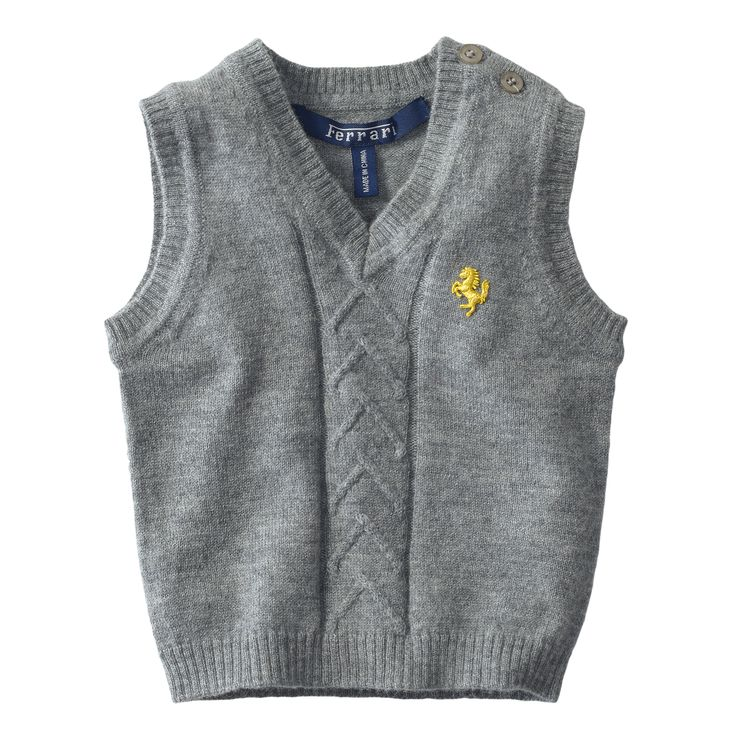Infant Ferrari Sleeveless Sweater #Ferrari #FerrariStore #Sleeveless #Sweater #Infant #FallWinter2015 #Kids #Style #Elegance #PrancingHorse #CavallinoRampante #Wool #Grey #Details