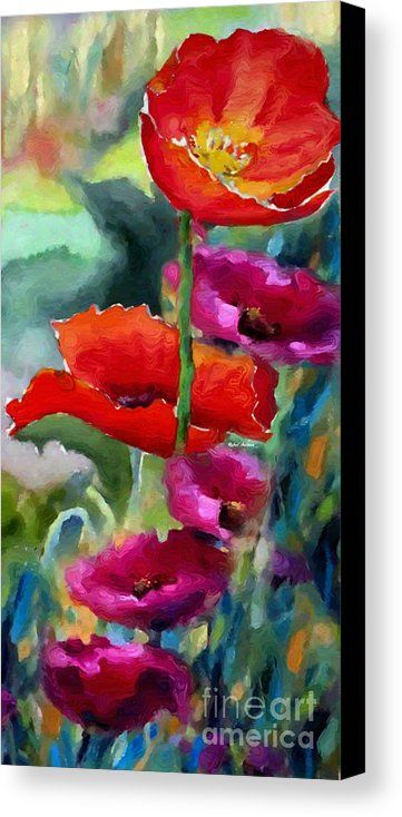 Poppies In Watercolor Canvas Print / Canvas Art by Rafael Salazar