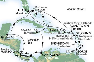 Estados Unidos, Bahamas, Jamaica, Colombia, Panamá, Costa Rica, Belice, Puerto Rico, Antigua y Barbuda, Barbados, Granada, St. Kitts, Islas Vírgenes (Británicas)