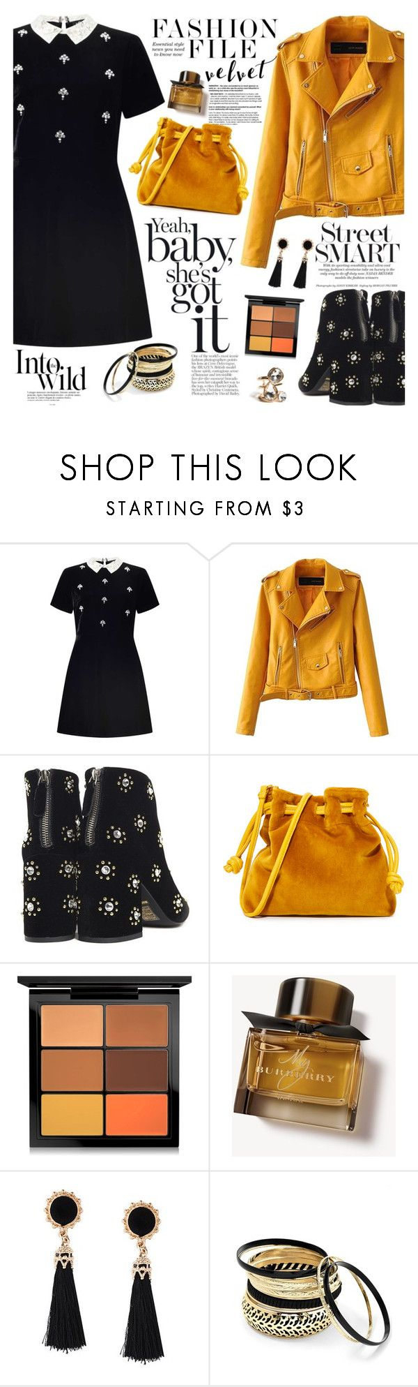 """""""Crushing on Velvet"""" by martinabb ❤ liked on Polyvore featuring Miss Selfridge, Senso, Clare V., MAC Cosmetics, Burberry, Anja, Venus and GUESS"""