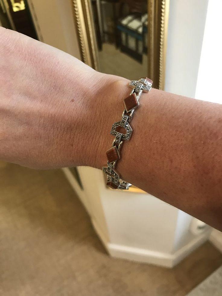 Art Deco Style Goldstone & Marcasite Silver Bracelet - Love this vintage look