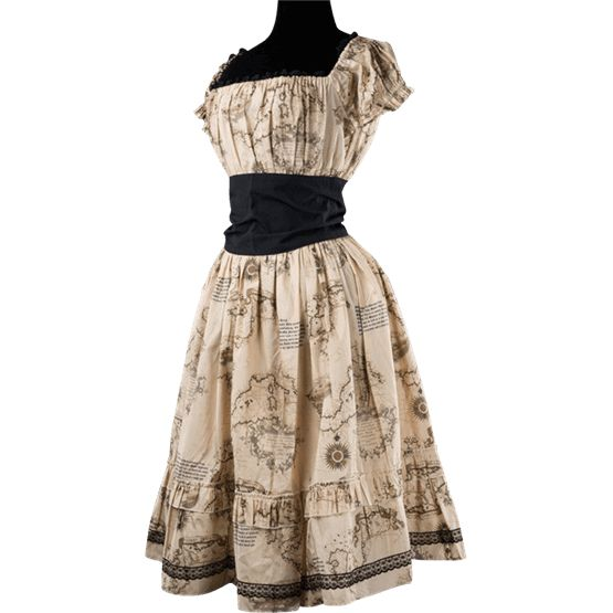 Map Print Gothabilly Dress - DR-1336 by Medieval Collectibles