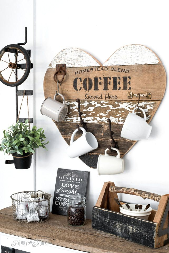 Coffee Station - This cute  coffee sign, made of reclaimed wood & complete with hooks for mugs, will soon become her favorite spot in the kitchen.   Get tutorial at Funky Junks Interior.