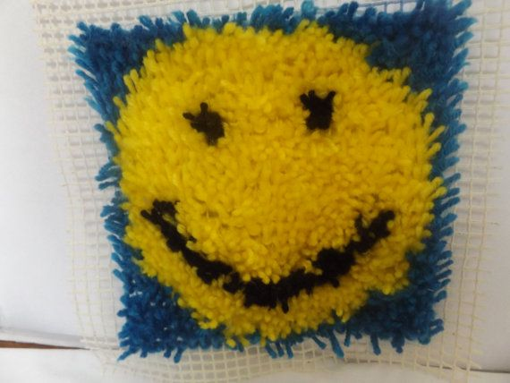 4H  Yellow smiley face latch hook rug panel design is  by MJSEWS2