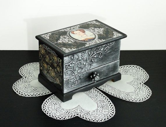 Hand painted antique jewelry box Black silver by JoliefleurDeco