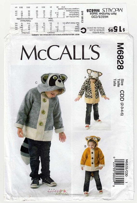 Boy\'s and Girl\'s Coats Sewing Pattern Animal | Sewing patterns ...