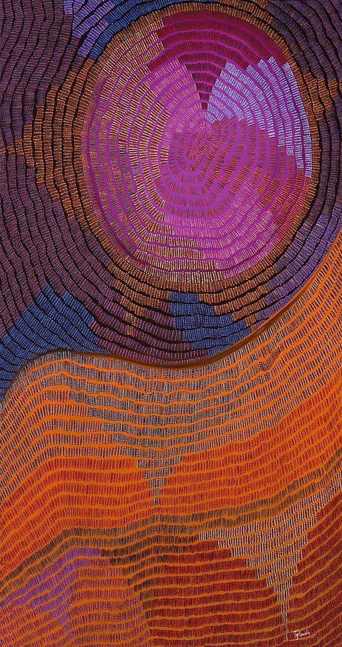 Helen Tyalmuty McCarthy: Kapuk (Burning Rag Ceremony). Aboriginal art. (sweetpeapath.tumblr/via artpropelled. source: aboriginalartworld)