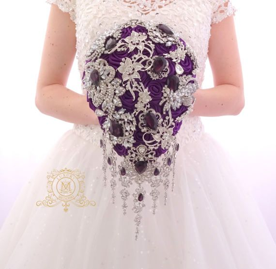 Dark purple BROOCH BOUQUET. Teardrop cascading plum colour