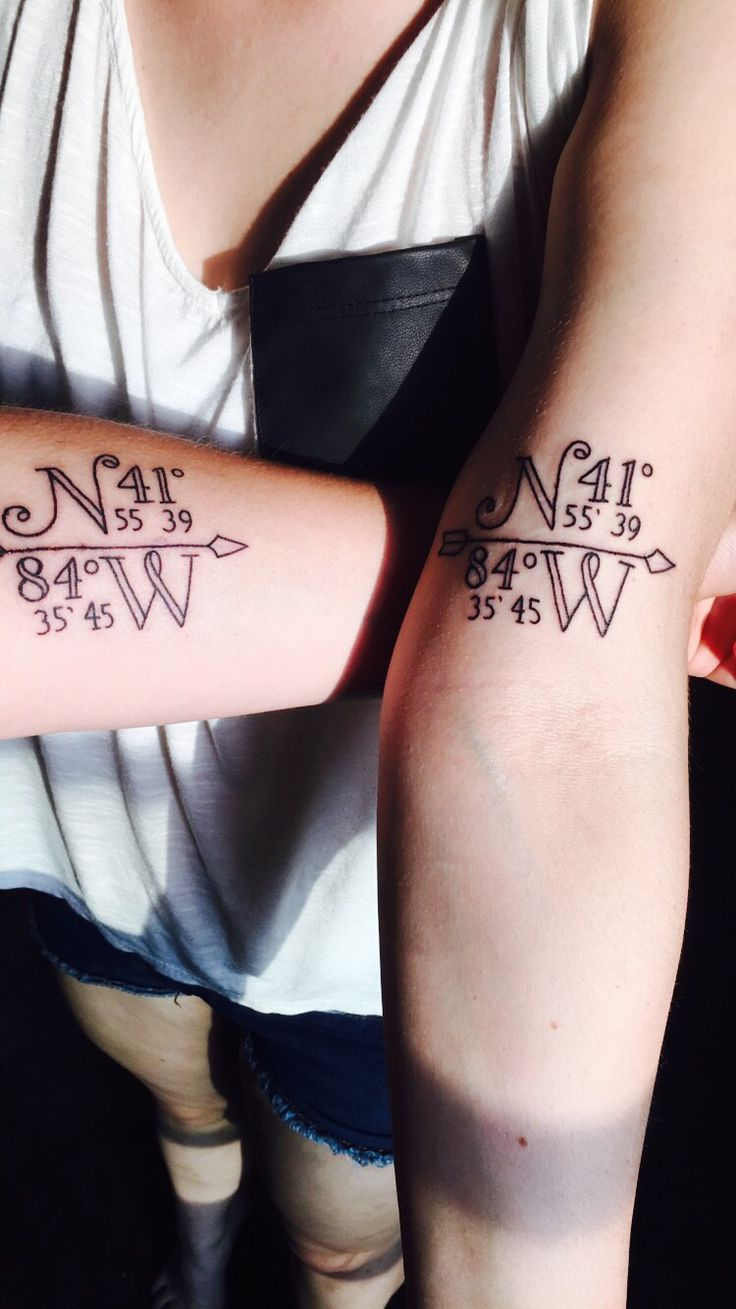Sister tattoo. Coordinates of the house we grew up in.