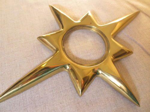 NOS Large Mid Century STARBURST Vintage Door Knob Back Plate Escutcheon Star