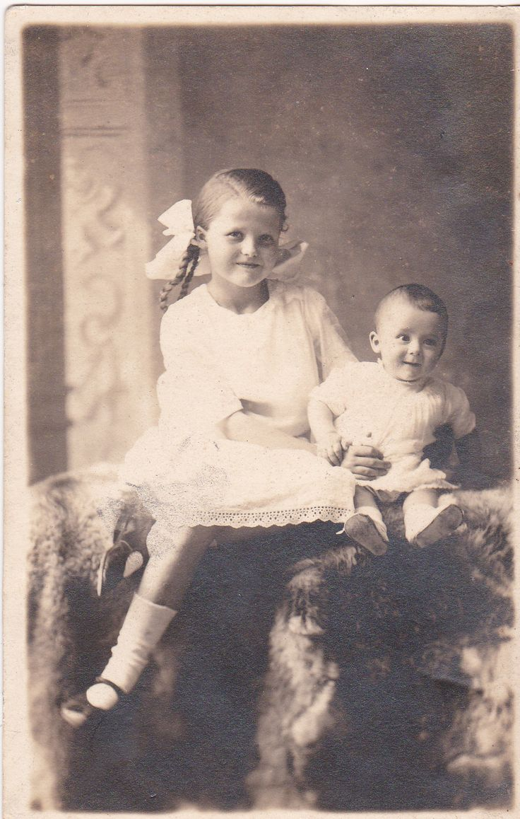 +~+~ Antique Photograph ~+~+ Happy portrait of a young girl and her baby brother.  Circa 1923