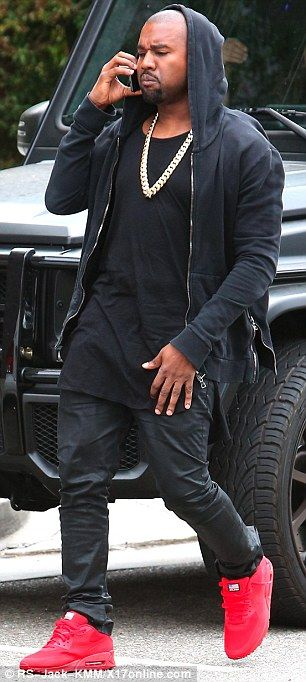 Kanye West wears Balmain Hoodie, Fear of God LA Tee, and Nike Air Max 90 Hyperfuse Sneakers | UpscaleHype