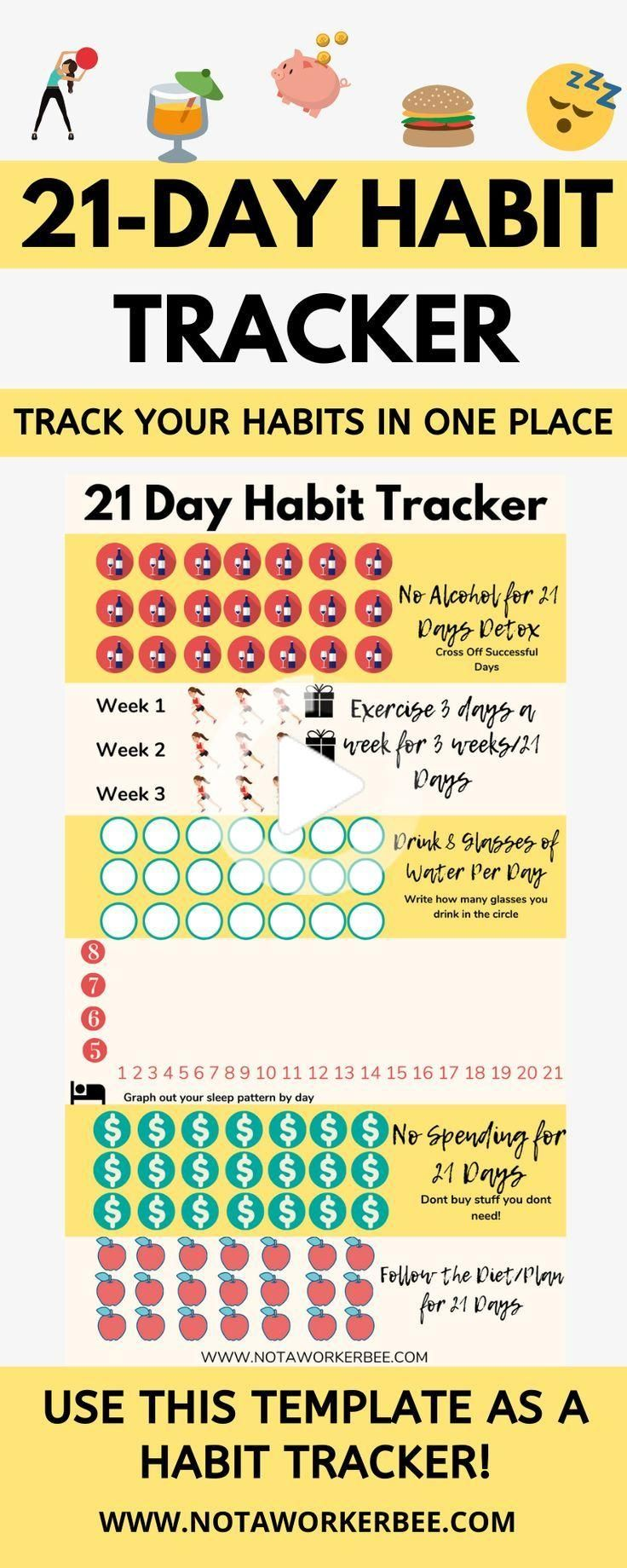 21 Day Habit Tracker For The New Year Not A Worker Bee 21 Days Habit Habit Tracker Break A Habit