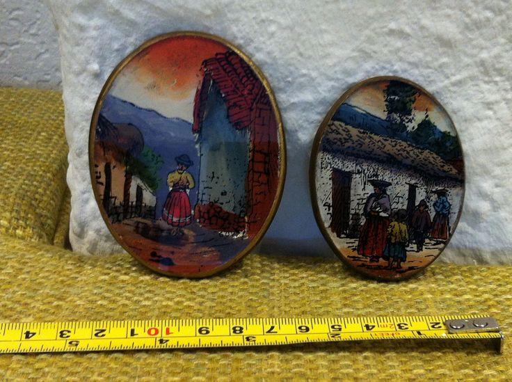 Vintage Peru Hinter Glas Malerei Handarbeit oval Wand Dekoration von Antikladen auf Etsy