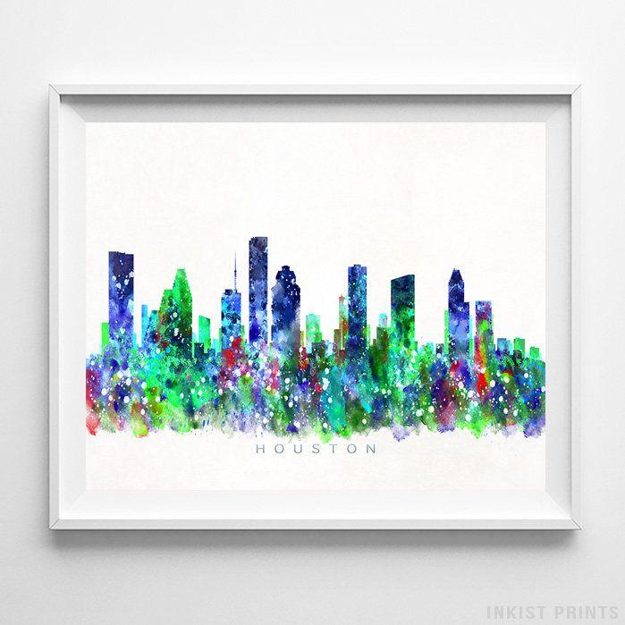 Houston Skyline Print, Texas Wall Art, Cityscape, City Skyline, Watercolor  Painting,