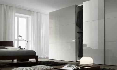 modern glossy grey sliding door wardrobe design