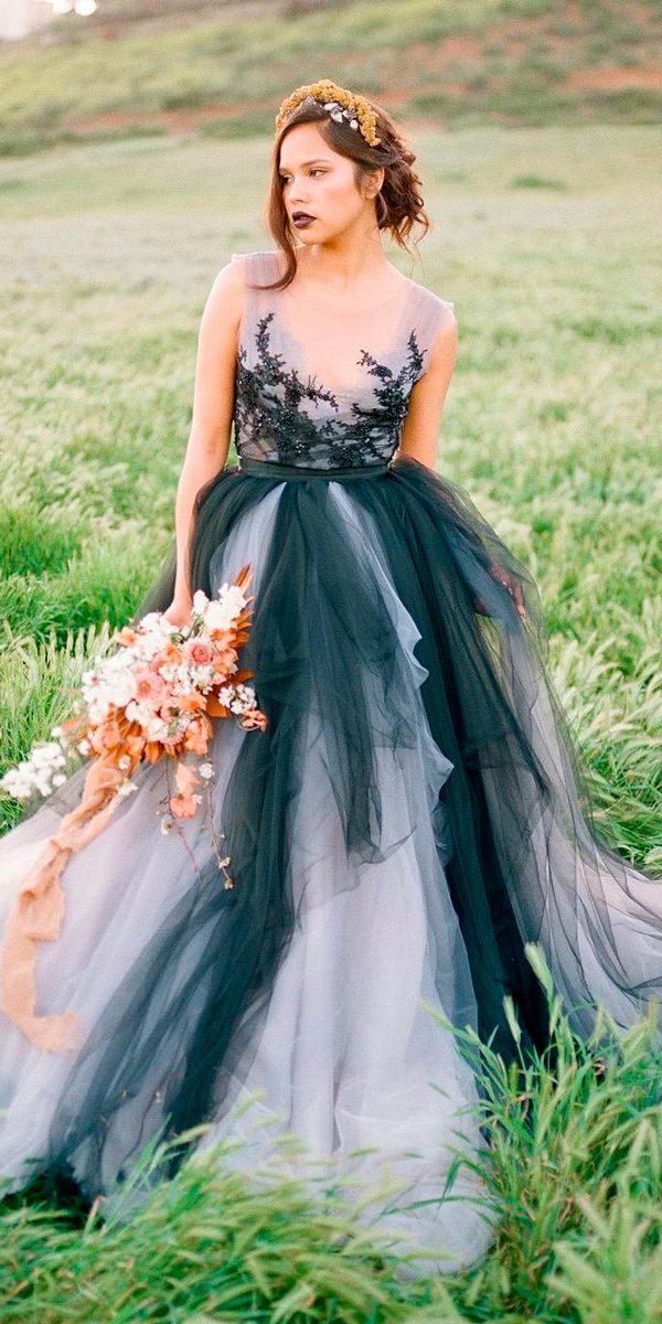 24 Colorful Wedding Dresses For Non-Traditional Bride ❤ colourful wedding dresses white and black v neckline sleeveless ball gown feather and stone ❤ See more: http://www.weddingforward.com/colourful-wedding-dresses/ #weddingforward #wedding #bride