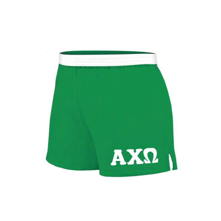 Alpha Chi Omega Shorts . Knit . Stitched White Greek Letters
