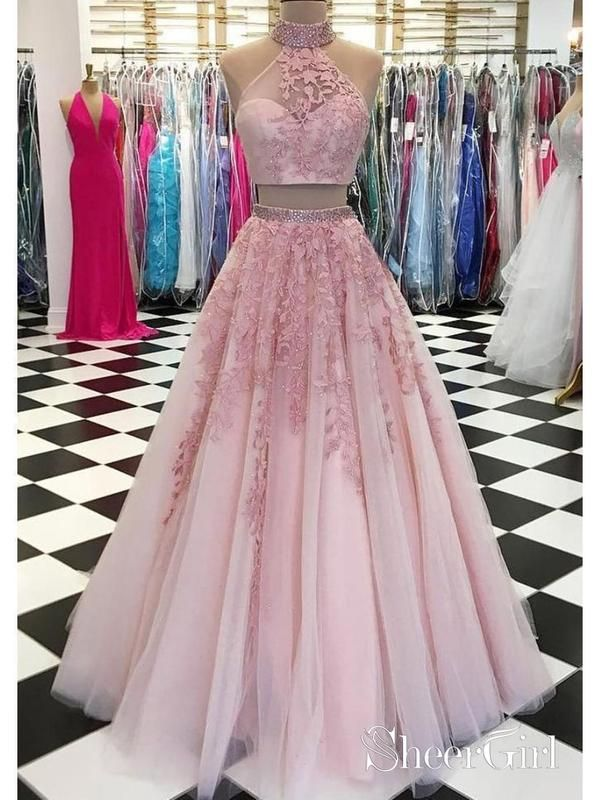 b9312896bd0 Two Piece Dusty Rose Beaded Quinceanera Dresses High Neck Lace Prom Dress  ARD1054-SheerGirl