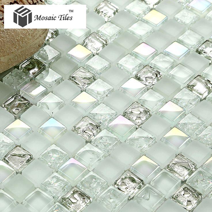 white iridescent mosaics glass silver kitchen backsplash tile bathroom wall mirror deco tiles fireplace tile