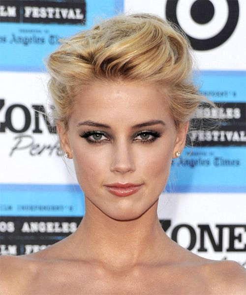 Amber Heard Formal Straight Updo Hairstyle