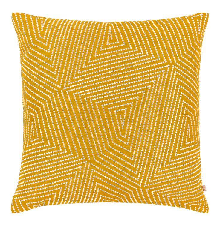 Inna - Kissen 50x50, gelb mit Motiv - Habitat