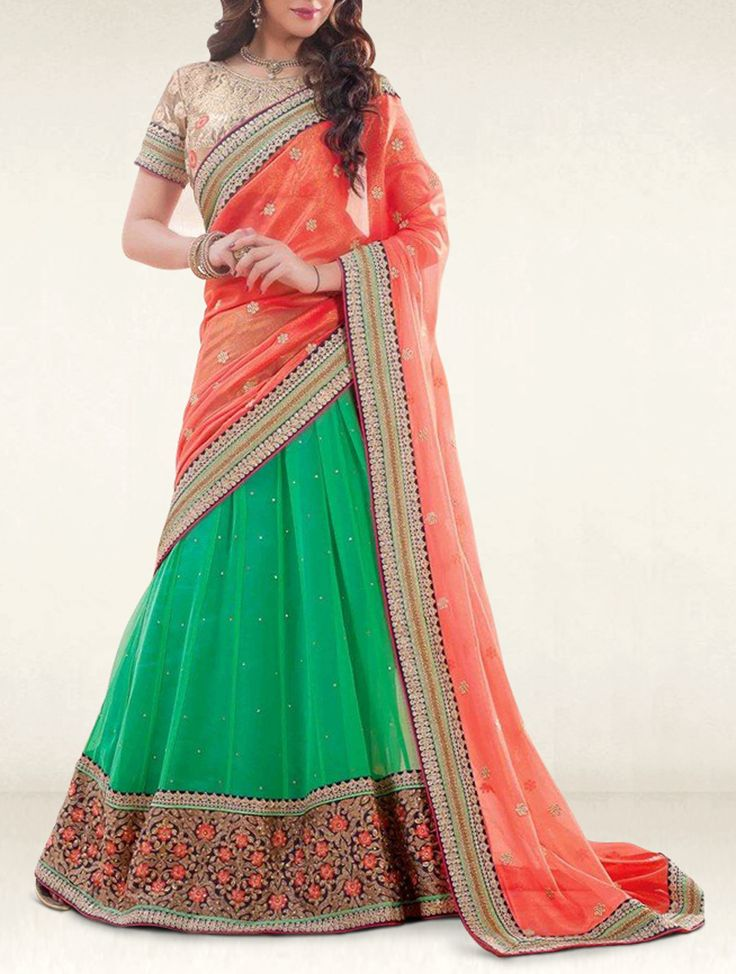 Ethnic colors never looked so trendy like this green and orange georgette designer lehenga saree.