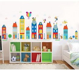 Colourful buildings with Mickey Mouse and Friends wall sticker available at www.kidzdecor.co.za. Free postage throughout South Africa