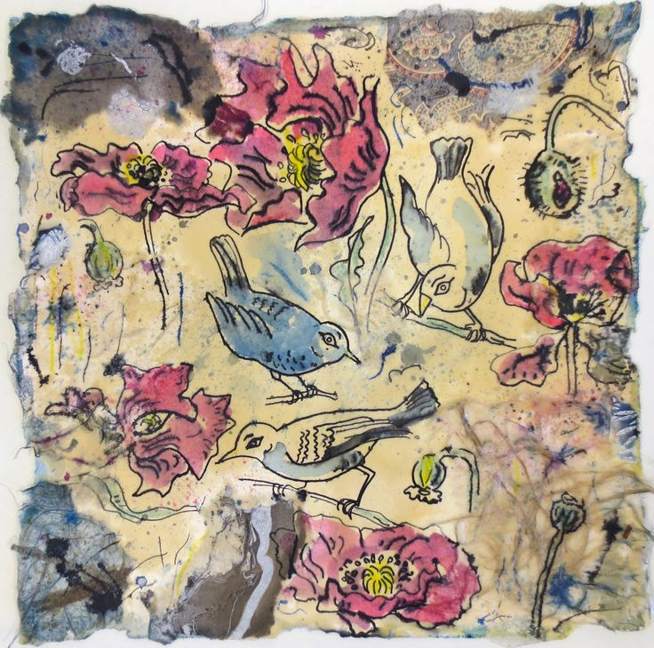Birds and Botanicals, encaustic, ink and collage on paper by Gerri Ann Siwek