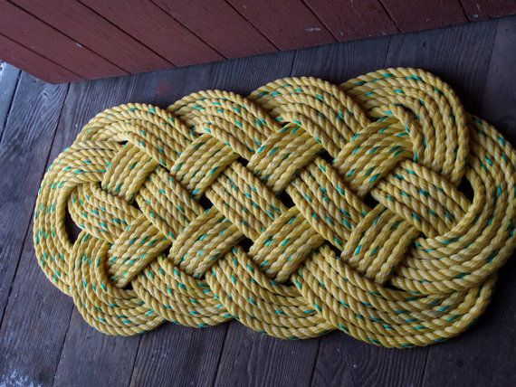 29 x 14 Yellow with Green Accent Door Mat Rope by AlaskaRugCompany, $65.00