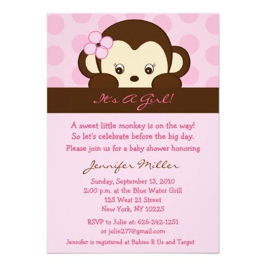 Mod Girl Monkey Dot Custom Baby Shower Invitations