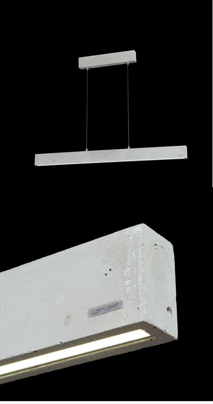 CONCRETE LINE - pendant lamp. Natural colour, 102.5cm wide. Built in 1140lm LED source #handcast #concretelamp #loft #loftlight