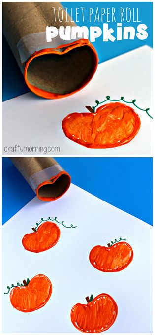 Toilet Paper Roll Pumpkin Stamp Craft - Perfect Halloween craft for kids to make! | CraftyMorning.com