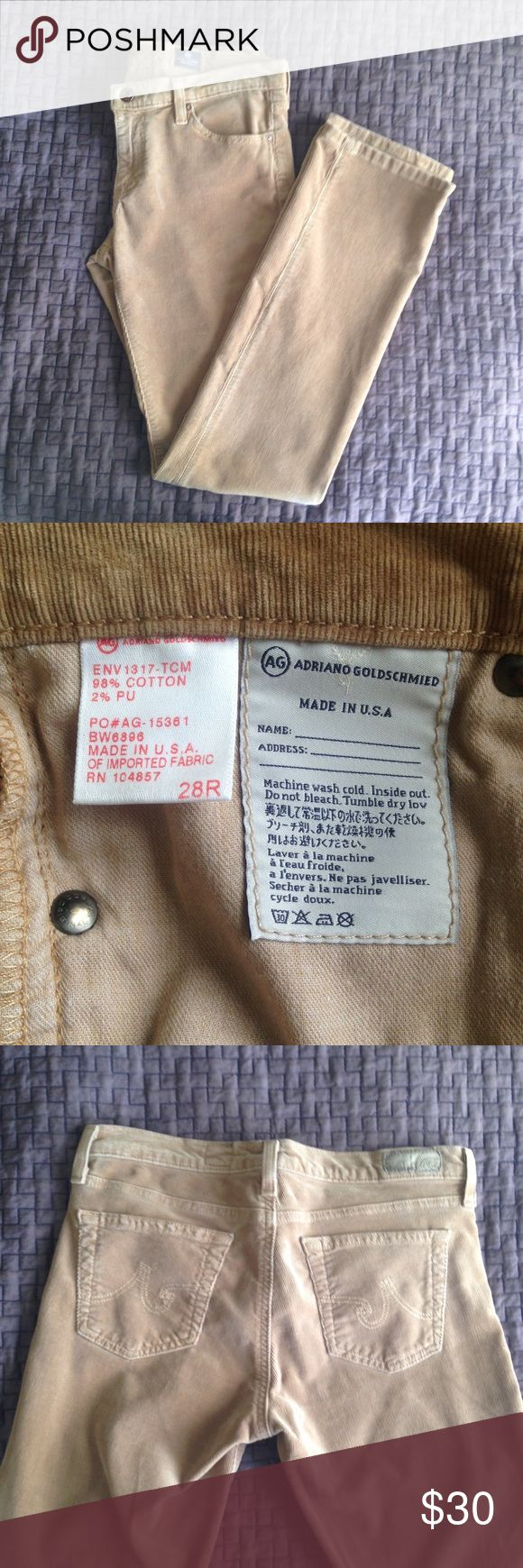AG Adriano Goldschmied Slim Bootcut Corduroys AG Adriano Goldschmied Slim Bootcut Ballad Corduroy pants in Khaki. Made in the USA. Women's size 28, regular. Super soft corduroys great for the transition to Fall. Barely worn and in great condition. AG Adriano Goldschmied Pants