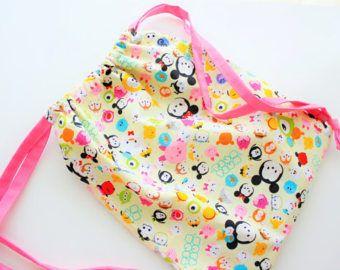 Bolso, morral de lazo, bolso de lazo, luz amarilla, a los niños Disney Tsum tsum, con bolsillo delantero, gran regalo para las niñas