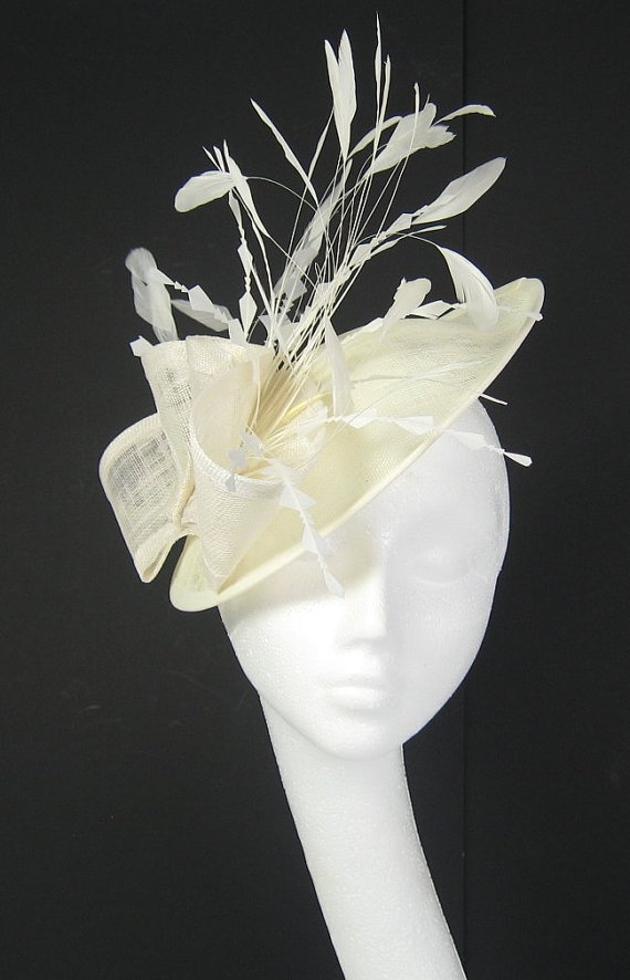 Cream Fascinator Kentucky Derby Or Wedding Hat By Hatsbycressida 165 00